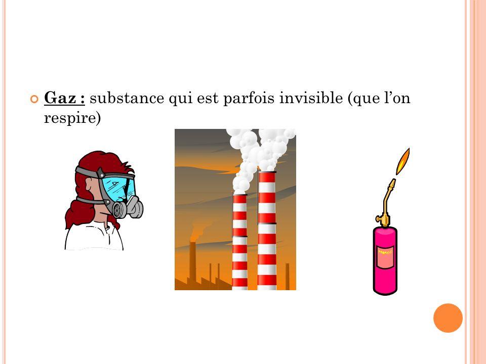 Gaz : substance qui est parfois invisible (que lon respire)