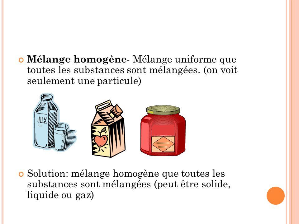 Mélange homogène - Mélange uniforme que toutes les substances sont mélangées.
