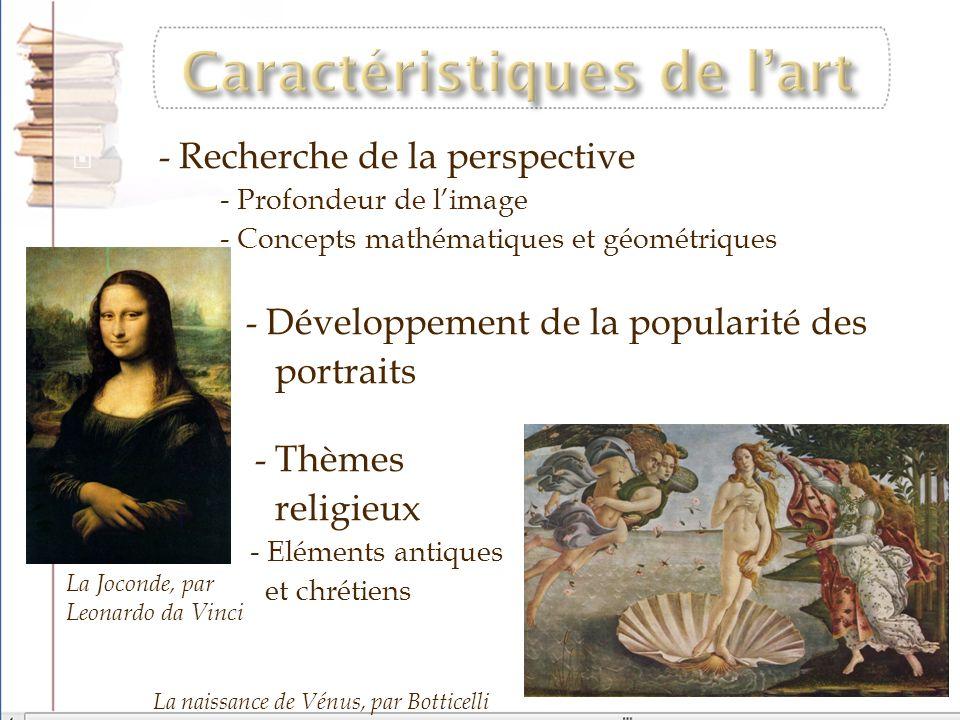 - Recherche de la perspective - Profondeur de limage - Concepts mathématiques et géométriques - Développement de la popularité des portraits - Thèmes