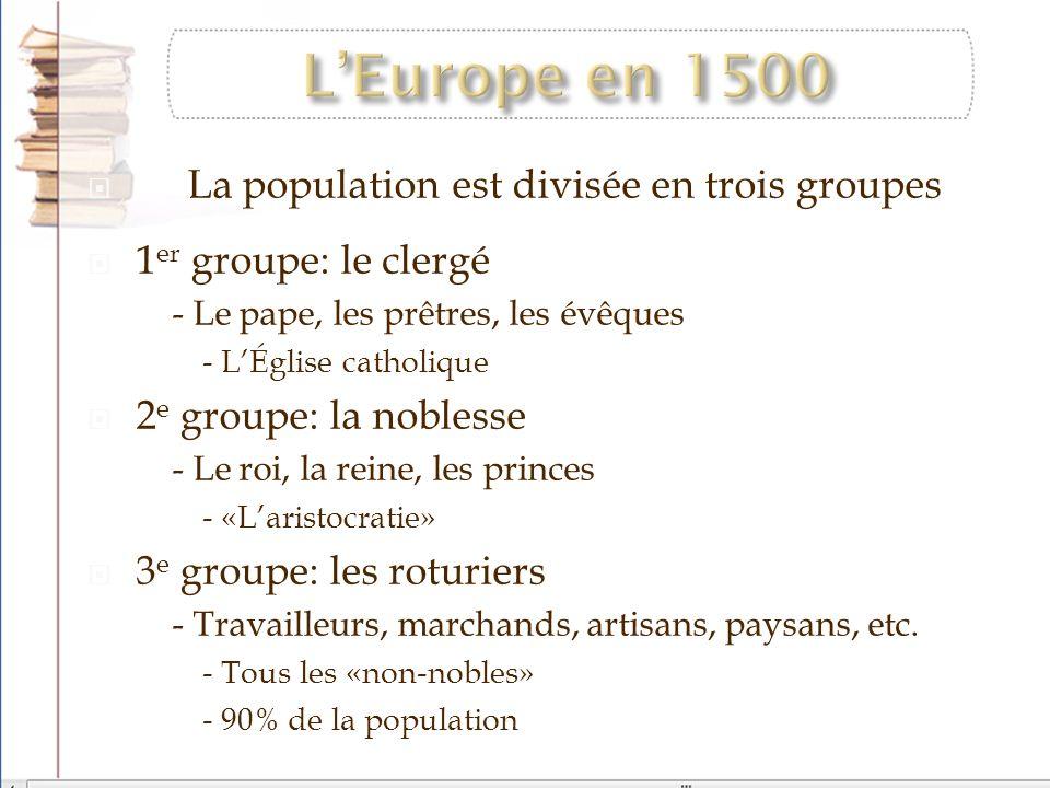 La population est divisée en trois groupes 1 er groupe: le clergé - Le pape, les prêtres, les évêques - LÉglise catholique 2 e groupe: la noblesse - L