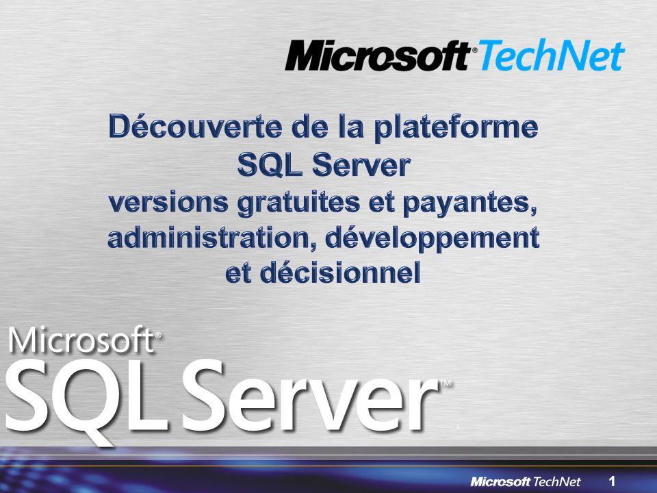 12 Une offre gratuite 1 processeur, 1Go de mémoire, base de 4 Go max Moteur relationnel complet avec les fonctionnalités de programmation (CLR, XML) Serveur de rapport pour les données locales Service Broker et Réplication en abonné Outil dadministration graphique intégré : –SQL Server Management Studio Express … Aux multiples avantages .
