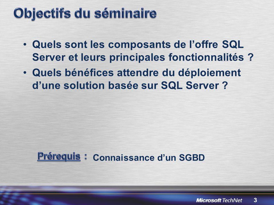 3 Quels sont les composants de loffre SQL Server et leurs principales fonctionnalités .