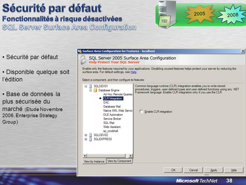 38 Sécurité par défaut Disponible quelque soit lédition Base de données la plus sécurisée du marché (Etude Novembre 2006, Enterprise Strategy Group ) 2008 2005
