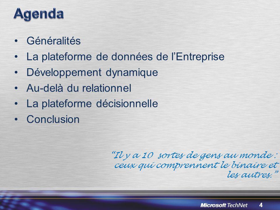 4 Généralités La plateforme de données de lEntreprise Développement dynamique Au-delà du relationnel La plateforme décisionnelle Conclusion Il y a 10 sortes de gens au monde : ceux qui comprennent le binaire et les autres.