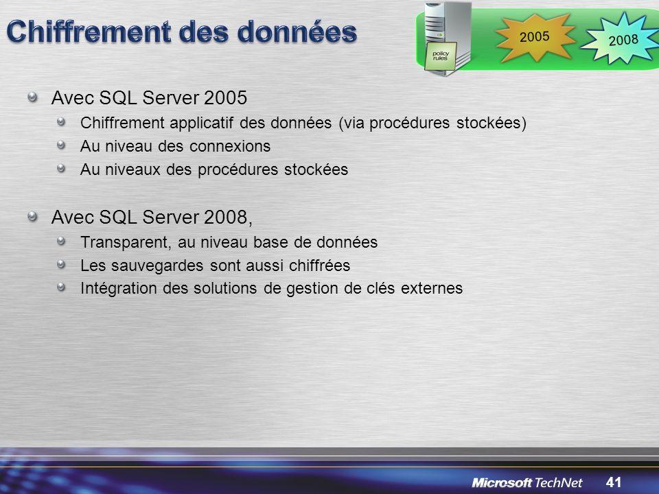 41 Avec SQL Server 2005 Chiffrement applicatif des données (via procédures stockées) Au niveau des connexions Au niveaux des procédures stockées Avec SQL Server 2008, Transparent, au niveau base de données Les sauvegardes sont aussi chiffrées Intégration des solutions de gestion de clés externes 2008 2005