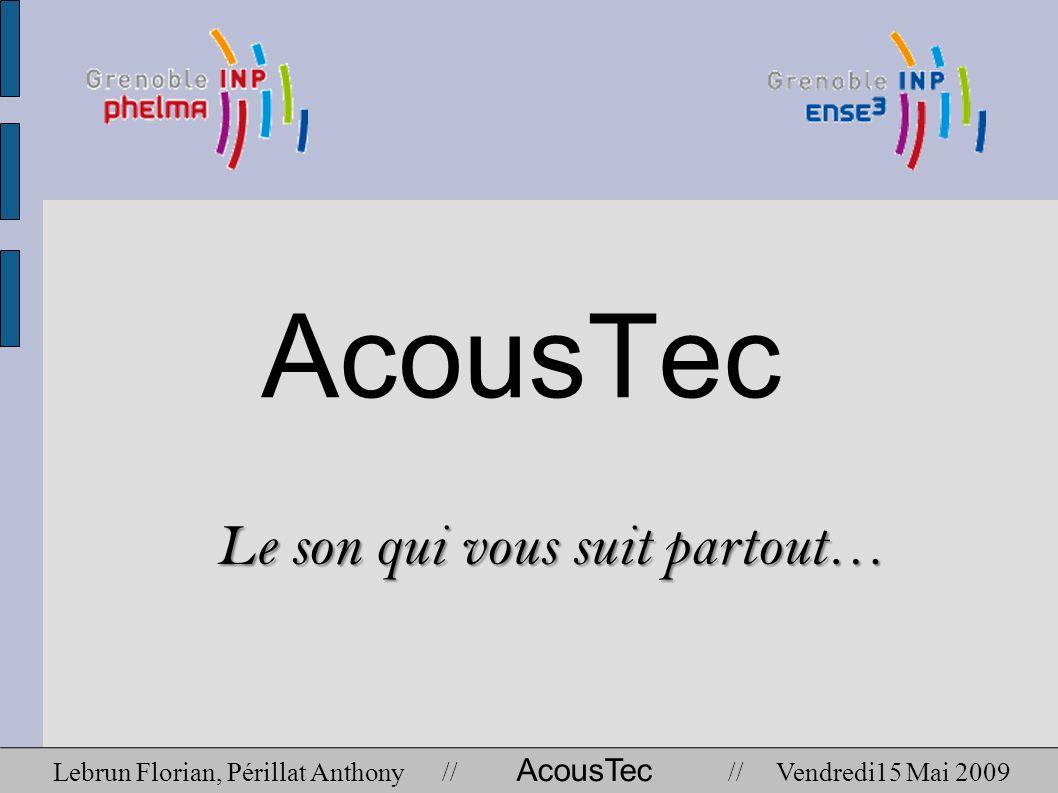 AcousTec Le son qui vous suit partout… Lebrun Florian, Périllat Anthony // AcousTec // Vendredi15 Mai 2009