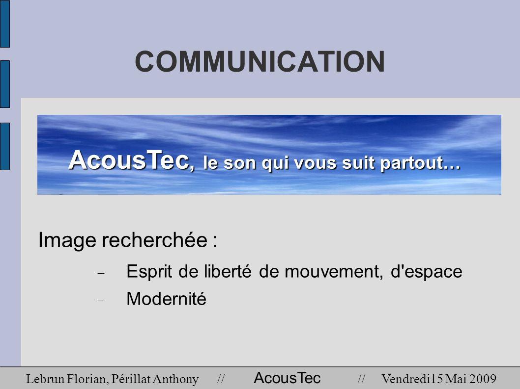 COMMUNICATION Image recherchée : Esprit de liberté de mouvement, d'espace Modernité AcousTec, le son qui vous suit partout… Lebrun Florian, Périllat A