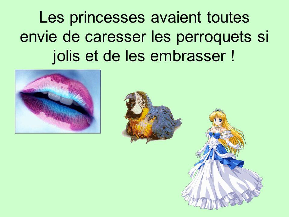 Les princesses avaient toutes envie de caresser les perroquets si jolis et de les embrasser !
