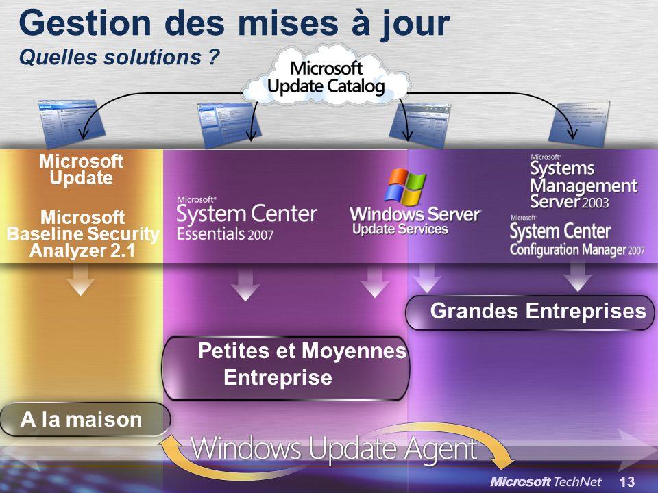 13 Microsoft Baseline Security Analyzer 2.1 Microsoft Update Gestion des mises à jour Quelles solutions .
