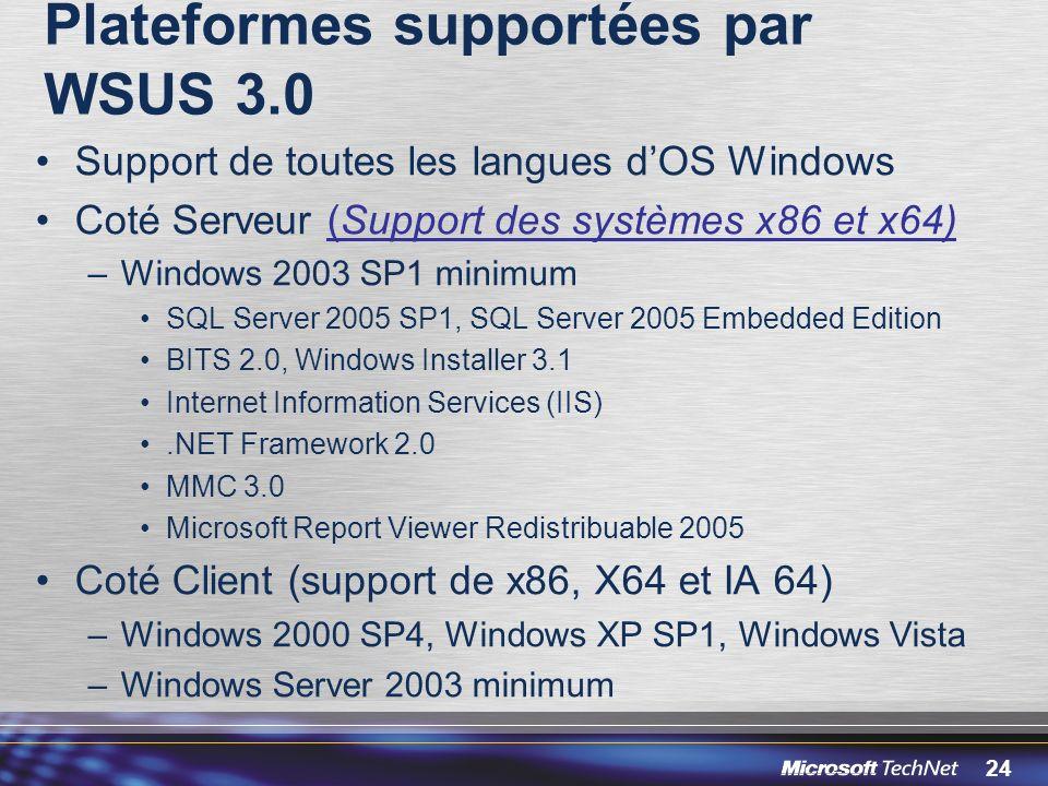 24 Plateformes supportées par WSUS 3.0 Support de toutes les langues dOS Windows Coté Serveur (Support des systèmes x86 et x64) –Windows 2003 SP1 minimum SQL Server 2005 SP1, SQL Server 2005 Embedded Edition BITS 2.0, Windows Installer 3.1 Internet Information Services (IIS).NET Framework 2.0 MMC 3.0 Microsoft Report Viewer Redistribuable 2005 Coté Client (support de x86, X64 et IA 64) –Windows 2000 SP4, Windows XP SP1, Windows Vista –Windows Server 2003 minimum