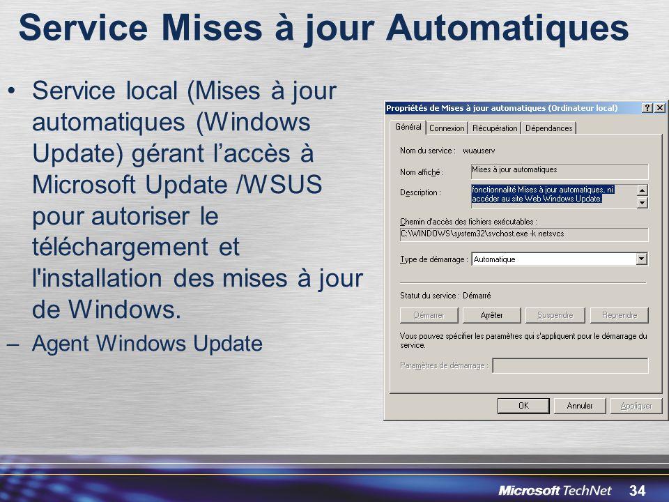 34 Service Mises à jour Automatiques Service local (Mises à jour automatiques (Windows Update) gérant laccès à Microsoft Update /WSUS pour autoriser le téléchargement et l installation des mises à jour de Windows.