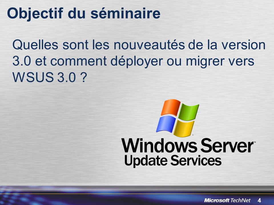 85 Ressources WSUS Page daccueil http://www.microsoft.com/windowsserversystem/updateservices WSUS Community http://www.microsoft.com/windowsserversystem/updateservices/com munity/default.mspx http://www.microsoft.com/windowsserversystem/updateservices/com munity/default.mspx –Team Blogs, MVPs, Forums, Newsgroups, Webcasts, Wiki Tools and API Samples http://www.microsoft.com/windowsserversystem/updateservices/down loads/default.mspx http://www.microsoft.com/windowsserversystem/updateservices/down loads/default.mspx