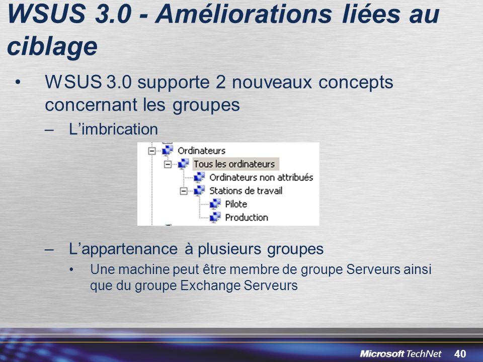 40 WSUS 3.0 - Améliorations liées au ciblage WSUS 3.0 supporte 2 nouveaux concepts concernant les groupes –Limbrication –Lappartenance à plusieurs groupes Une machine peut être membre de groupe Serveurs ainsi que du groupe Exchange Serveurs