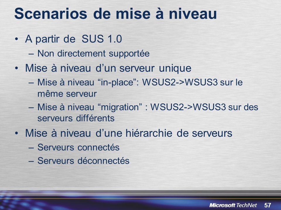 57 Scenarios de mise à niveau A partir de SUS 1.0 –Non directement supportée Mise à niveau dun serveur unique –Mise à niveau in-place: WSUS2->WSUS3 sur le même serveur –Mise à niveau migration : WSUS2->WSUS3 sur des serveurs différents Mise à niveau dune hiérarchie de serveurs –Serveurs connectés –Serveurs déconnectés