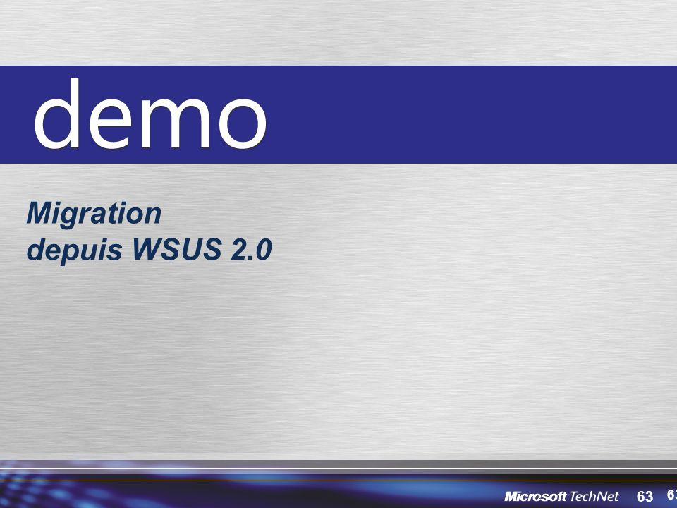 63 Migration depuis WSUS 2.0 63