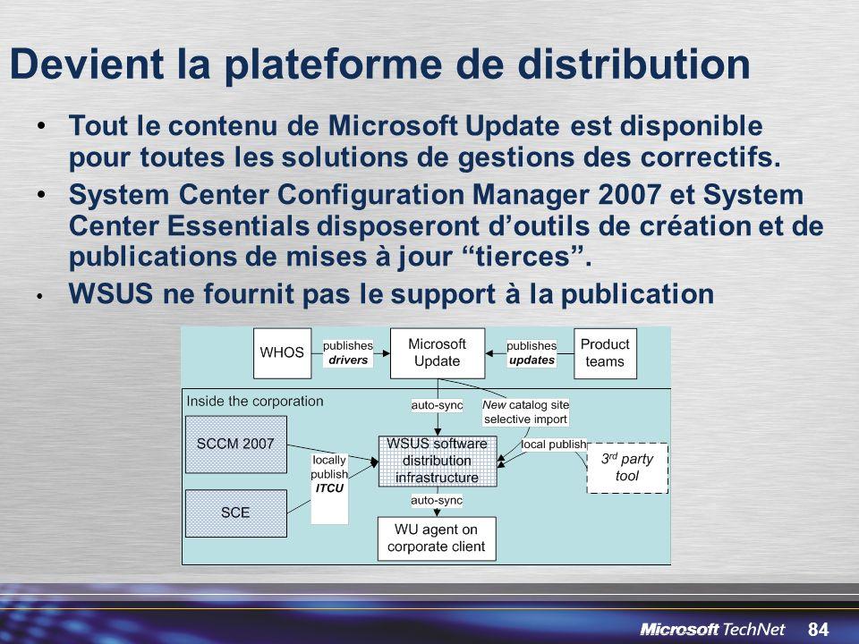 84 Devient la plateforme de distribution Tout le contenu de Microsoft Update est disponible pour toutes les solutions de gestions des correctifs.