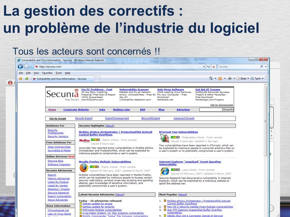 9 La gestion des correctifs : un problème de lindustrie du logiciel Tous les acteurs sont concernés !!