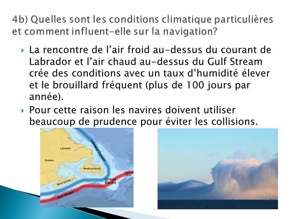 La rencontre de lair froid au-dessus du courant de Labrador et lair chaud au-dessus du Gulf Stream crée des conditions avec un taux dhumidité élever et le brouillard fréquent (plus de 100 jours par année).