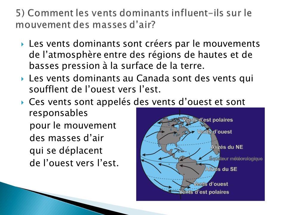 Les vents dominants sont créers par le mouvements de latmosphère entre des régions de hautes et de basses pression à la surface de la terre.