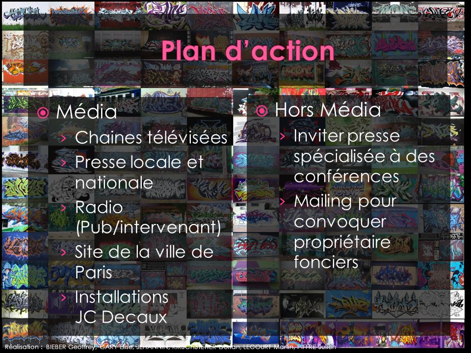 Média Chaines télévisées Presse locale et nationale Radio (Pub/intervenant) Site de la ville de Paris Installations JC Decaux Hors Média Inviter press