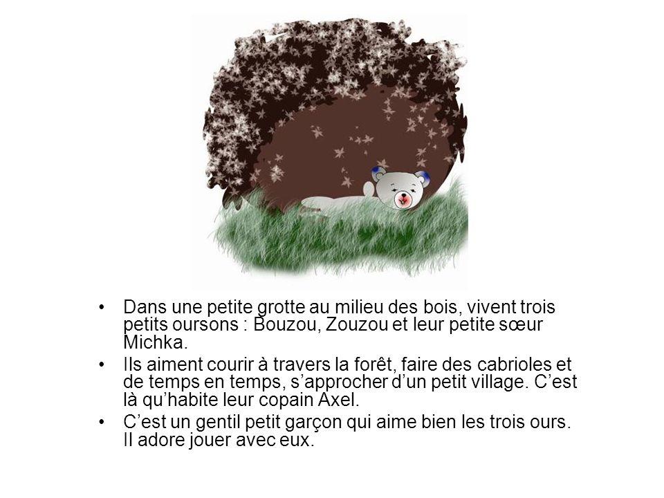 Dans une petite grotte au milieu des bois, vivent trois petits oursons : Bouzou, Zouzou et leur petite sœur Michka. Ils aiment courir à travers la for