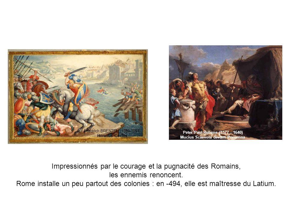 Impressionnés par le courage et la pugnacité des Romains, les ennemis renoncent. Rome installe un peu partout des colonies : en -494, elle est maîtres