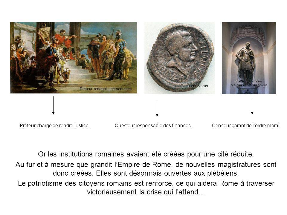 Or les institutions romaines avaient été créées pour une cité réduite. Au fur et à mesure que grandit lEmpire de Rome, de nouvelles magistratures sont