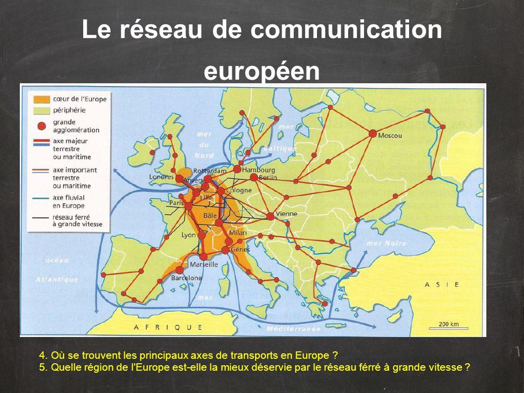 Le réseau de communication européen 4. Où se trouvent les principaux axes de transports en Europe ? 5. Quelle région de l'Europe est-elle la mieux dés