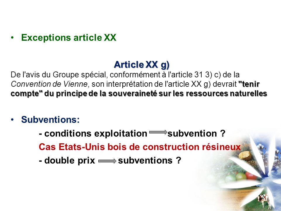 Exceptions article XX Article XX g)