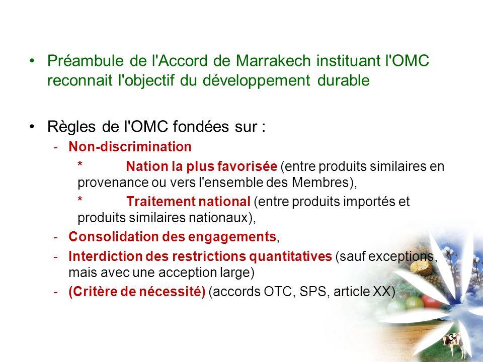 Deux cas de figure Les règles de l OMC : qui s appliquent au commerce des ressources naturelles qui sont fondées sur des objectifs liés aux ressources naturelles.