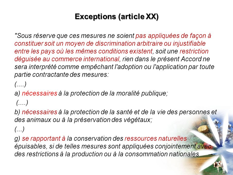 Exceptions (article XX)