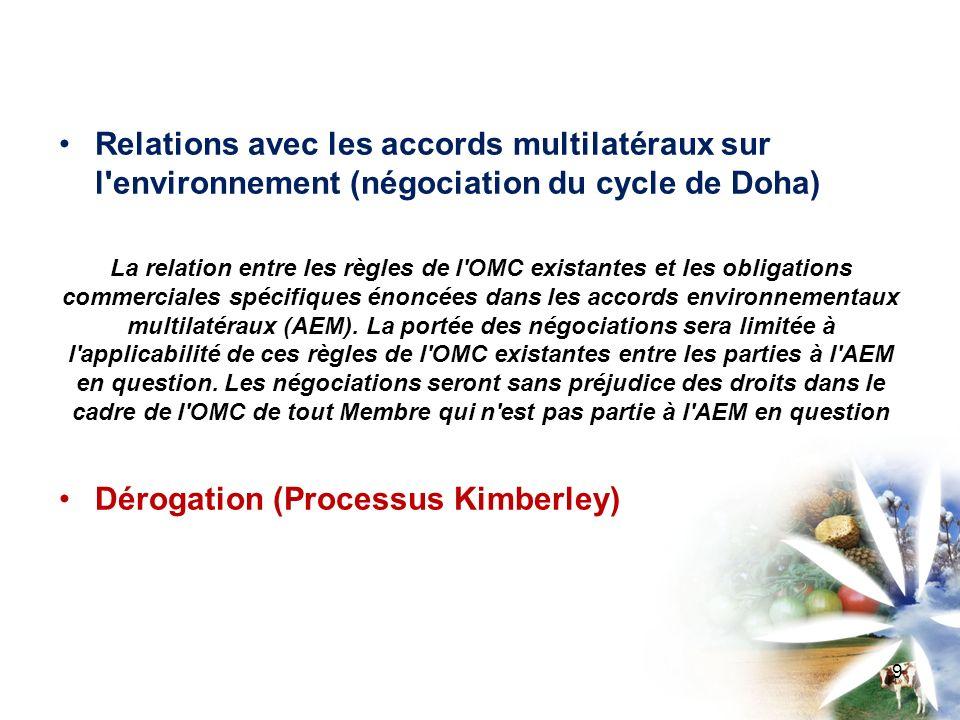 Relations avec les accords multilatéraux sur l environnement (négociation du cycle de Doha) La relation entre les règles de l OMC existantes et les obligations commerciales spécifiques énoncées dans les accords environnementaux multilatéraux (AEM).