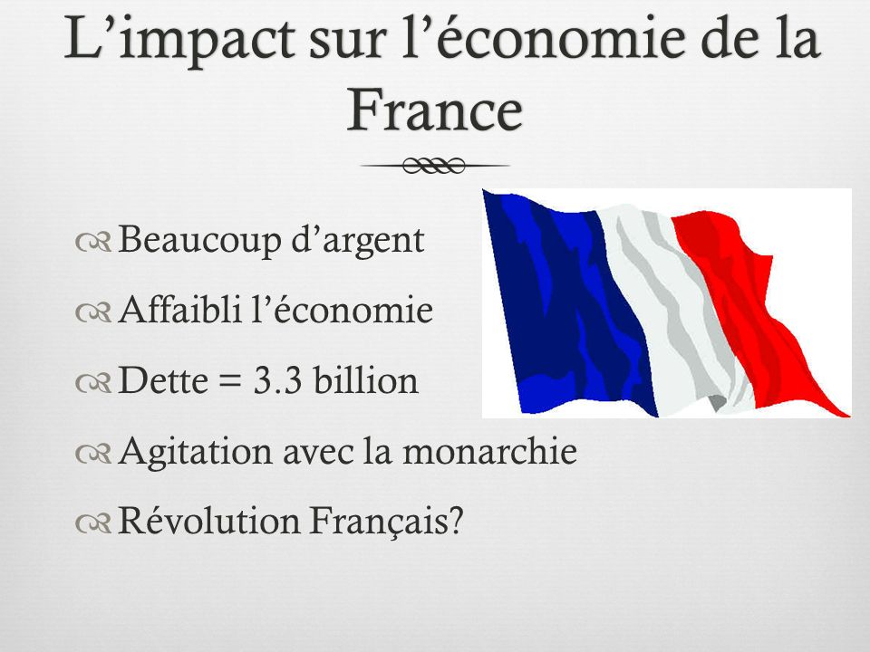 Limpact sur léconomie de la France Limpact sur léconomie de la France Beaucoup dargent Affaibli léconomie Dette = 3.3 billion Agitation avec la monarchie Révolution Français