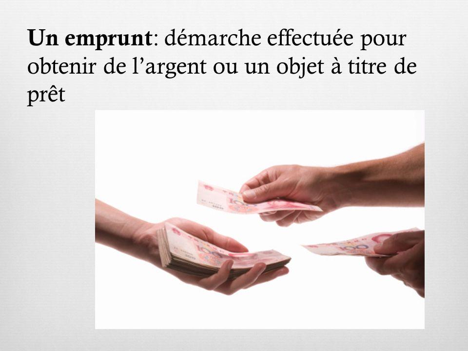Un emprunt : démarche effectuée pour obtenir de largent ou un objet à titre de prêt