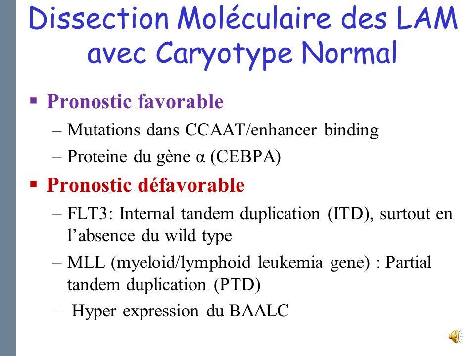 LAM avec Caryotype Normal 40%-45% des LAM de novo de ladulte Ara-C HD (4 cycles) en consolidation 40% de patients en rémission prolongée Apport de la