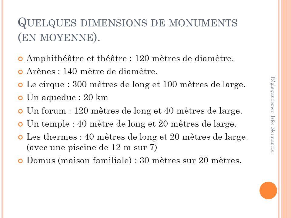 Q UELQUES DIMENSIONS DE MONUMENTS ( EN MOYENNE ). Amphithéâtre et théâtre : 120 mètres de diamètre. Arènes : 140 mètre de diamètre. Le cirque : 300 mè