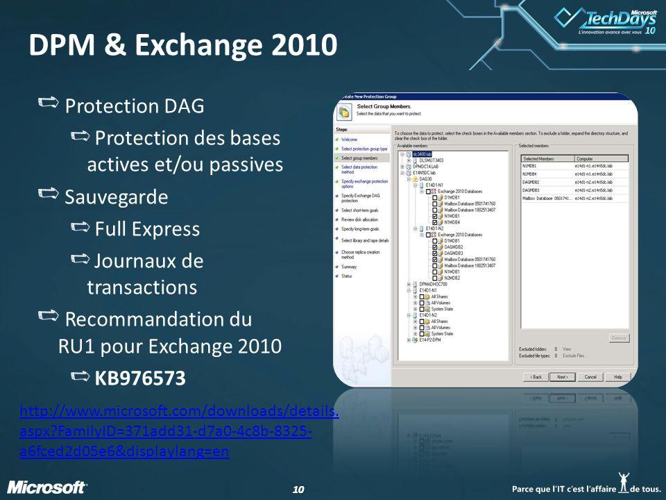 10 DPM & Exchange 2010 Protection DAG Protection des bases actives et/ou passives Sauvegarde Full Express Journaux de transactions Recommandation du R