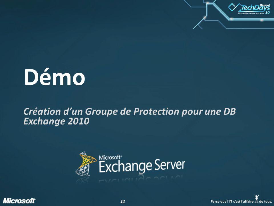 11 Démo Création dun Groupe de Protection pour une DB Exchange 2010