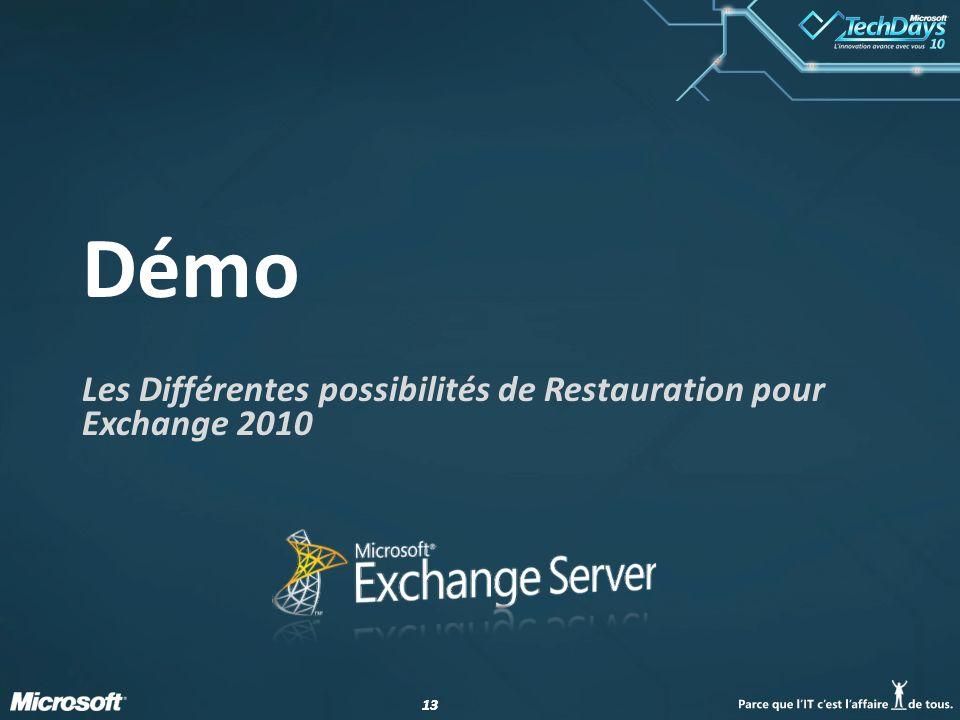 13 Démo Les Différentes possibilités de Restauration pour Exchange 2010