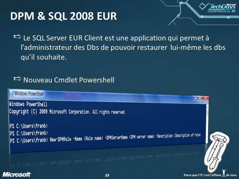 15 DPM & SQL 2008 EUR Le SQL Server EUR Client est une application qui permet à ladministrateur des Dbs de pouvoir restaurer lui-même les dbs quil sou