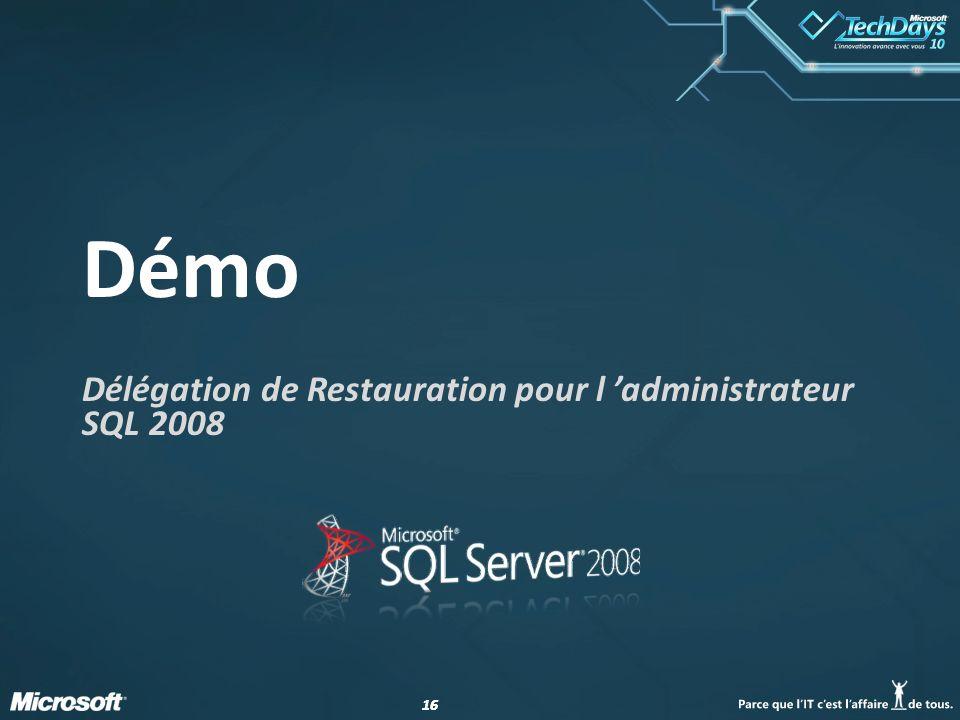 16 Démo Délégation de Restauration pour l administrateur SQL 2008