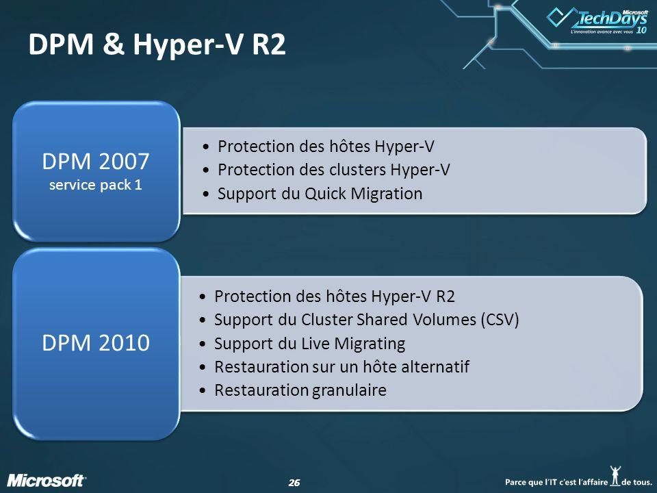 26 DPM & Hyper-V R2 Protection des hôtes Hyper-V Protection des clusters Hyper-V Support du Quick Migration DPM 2007 service pack 1 Protection des hôt