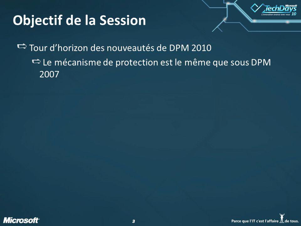 44 Agenda Introduction Nouveautés DPM & Exchange 2010 DPM & SQL 2008 EUR DPM & SharePoint 2010 Le Mode Workgroup DPM & Hyper-V R2 DPM & Poste Client Protection dun serveur DPM Ressources Q&R