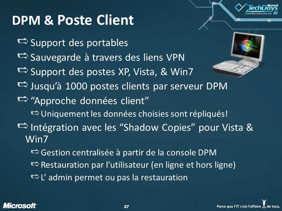 37 DPM & Poste Client Support des portables Sauvegarde à travers des liens VPN Support des postes XP, Vista, & Win7 Jusquà 1000 postes clients par ser