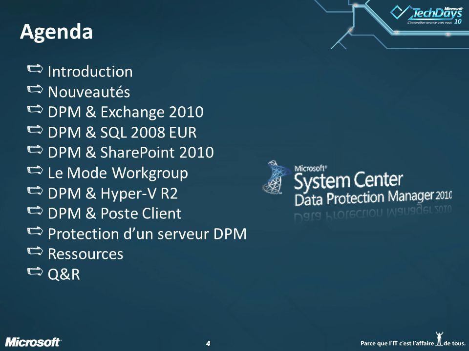 44 Agenda Introduction Nouveautés DPM & Exchange 2010 DPM & SQL 2008 EUR DPM & SharePoint 2010 Le Mode Workgroup DPM & Hyper-V R2 DPM & Poste Client P