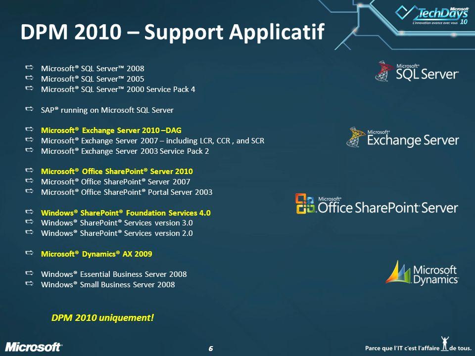 17 DPM & SQL 2008 EUR Un exemple du script est disponible sur : http://nelite.com/blog/blogs/yvarloud/archive/2010/01/15 /dpm-2010-sql-server-2008-end-user-recovery-feature.aspx