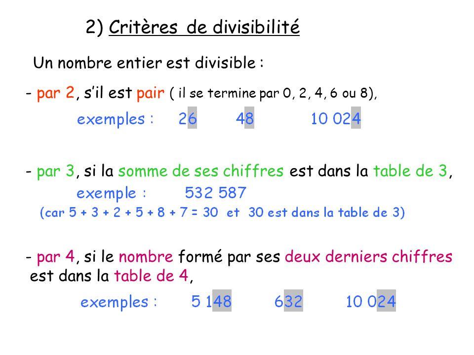 2) Critères de divisibilité Un nombre entier est divisible : - par 2, sil est pair ( il se termine par 0, 2, 4, 6 ou 8), - par 3, si la somme de ses c