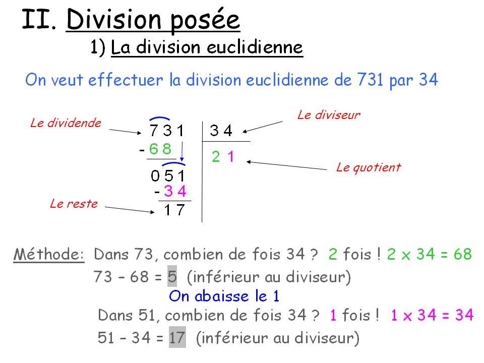 II. Division posée Le dividende Le diviseur Le quotient Le reste