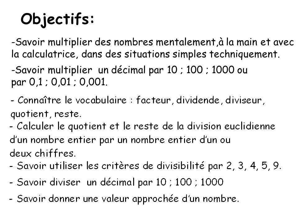 Objectifs: -Savoir multiplier des nombres mentalement,à la main et avec la calculatrice, dans des situations simples techniquement. -Savoir multiplier