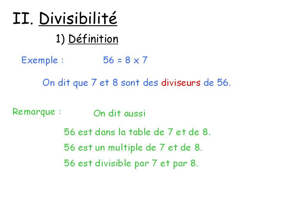 2) Critères de divisibilité Un nombre entier est divisible : - par 2, sil est pair ( il se termine par 0, 2, 4, 6 ou 8), - par 3, si la somme de ses chiffres est dans la table de 3, - par 4, si le nombre formé par ses deux derniers chiffres est dans la table de 4,